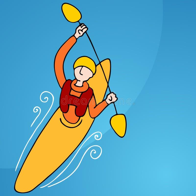皮船人划船 向量例证