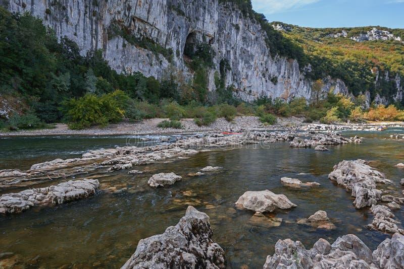 皮船在Ardeche河,法国 库存图片