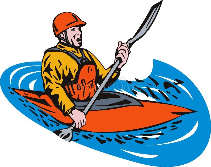 皮船桨手 向量例证