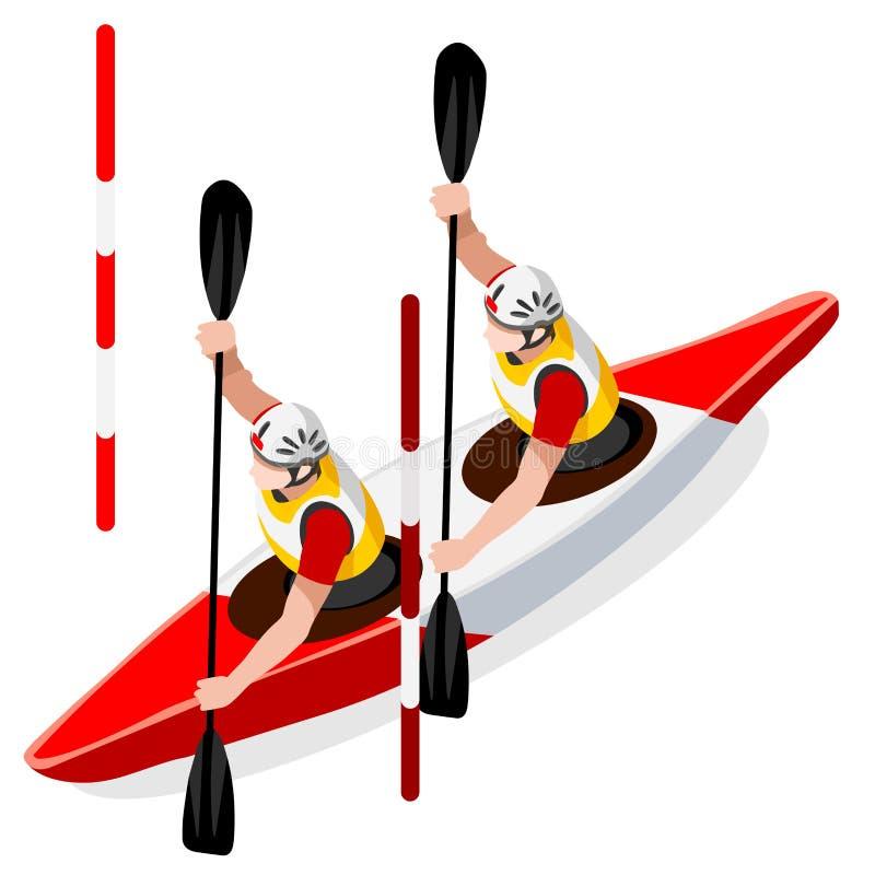 皮船障碍滑雪双独木舟夏天比赛象集合 3D等量划独木舟的人 库存例证