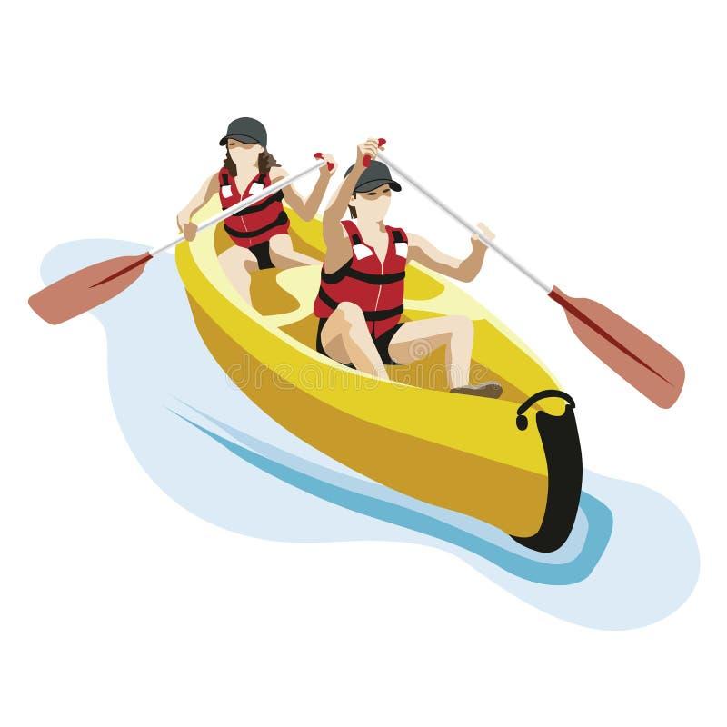 皮船,白浪体育 向量例证