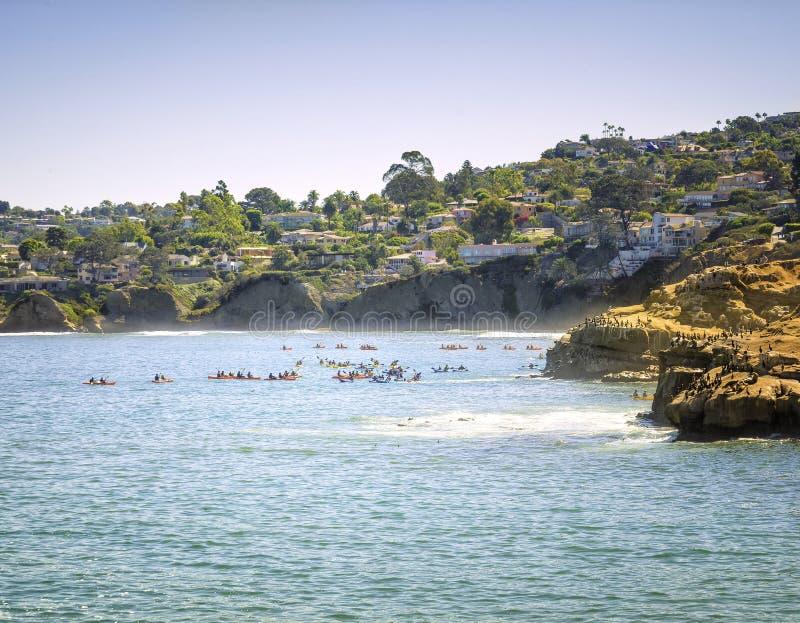 皮艇,拉霍亚,加利福尼亚 免版税库存照片