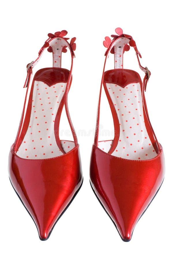 皮革专利红色鞋子 库存图片