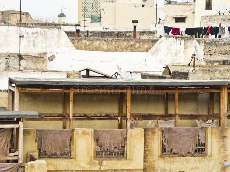 皮革厂和染料工厂在菲斯 图库摄影