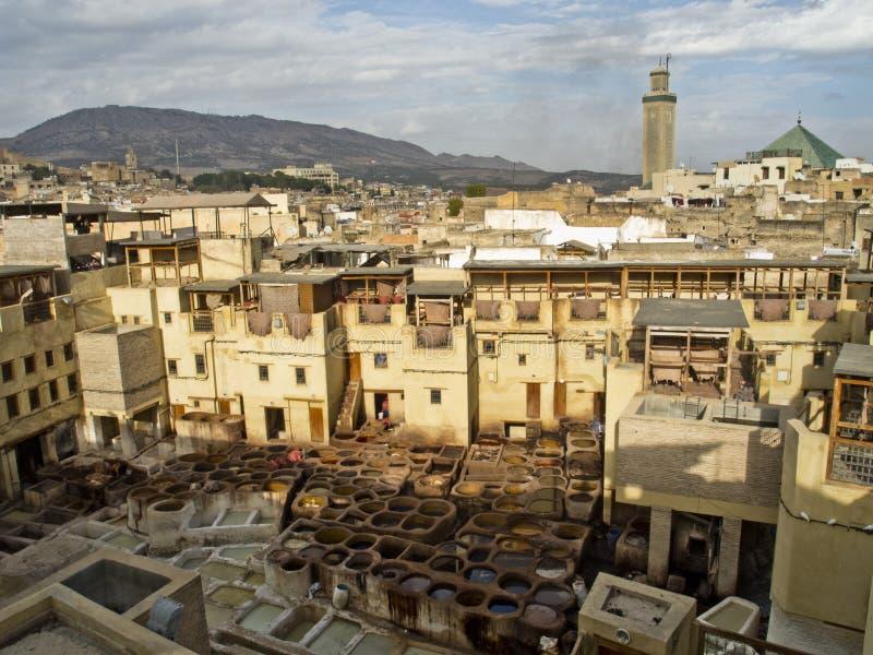 皮革厂和染料工厂在菲斯 免版税图库摄影