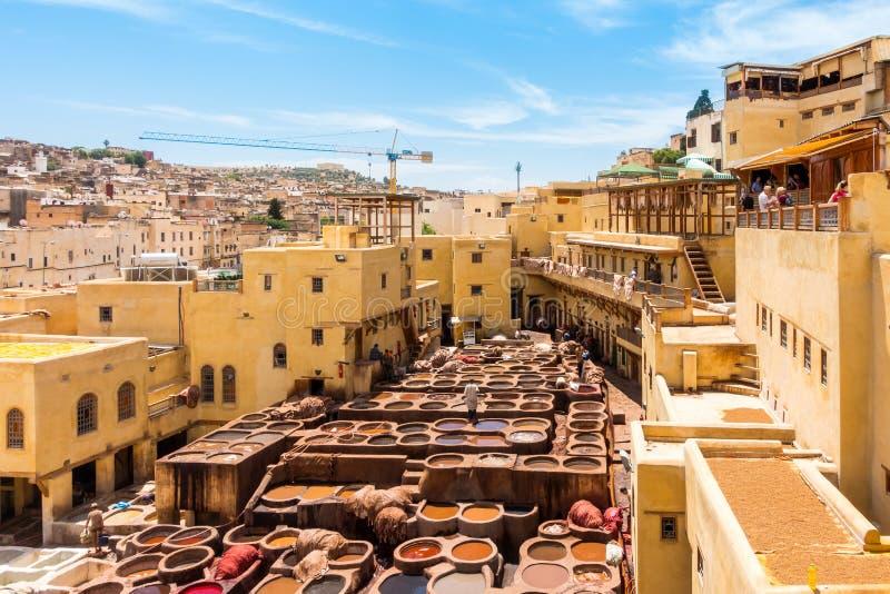 皮革厂在菲斯, Fes el巴厘岛,摩洛哥,非洲 库存图片