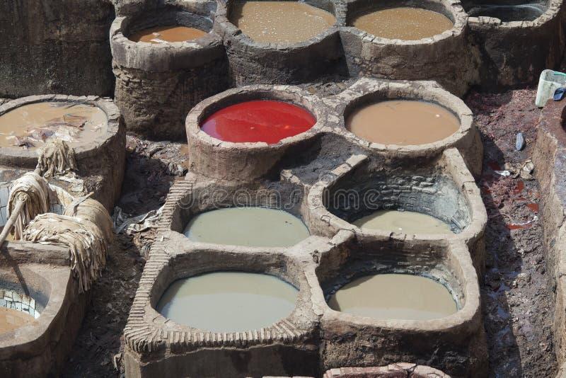 皮革厂在菲斯 库存图片