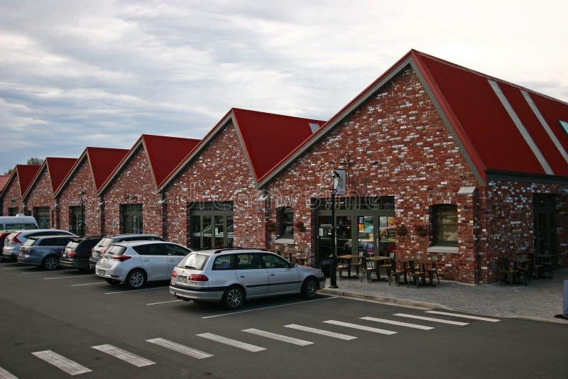 皮革厂的砖外部海拔在克赖斯特切奇,新西兰 免版税图库摄影