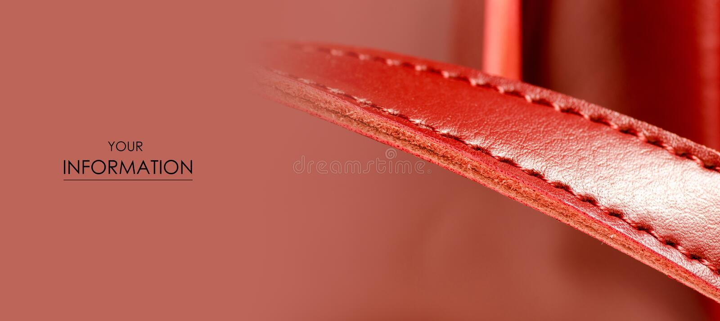 皮革妇女` s红色袋子宏观秀丽样式 免版税图库摄影
