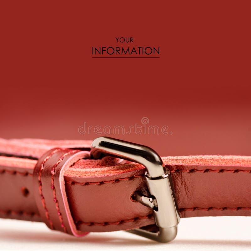 皮革妇女` s红色袋子宏观秀丽样式 免版税库存图片