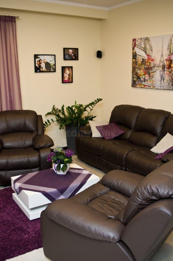 皮革沙发和椅子在客厅 免版税库存照片