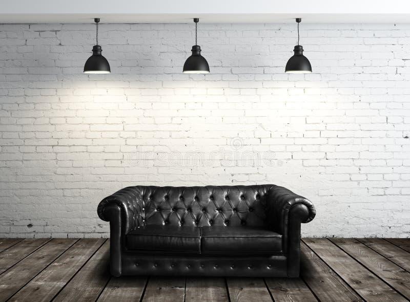 皮革沙发在屋子里 库存照片