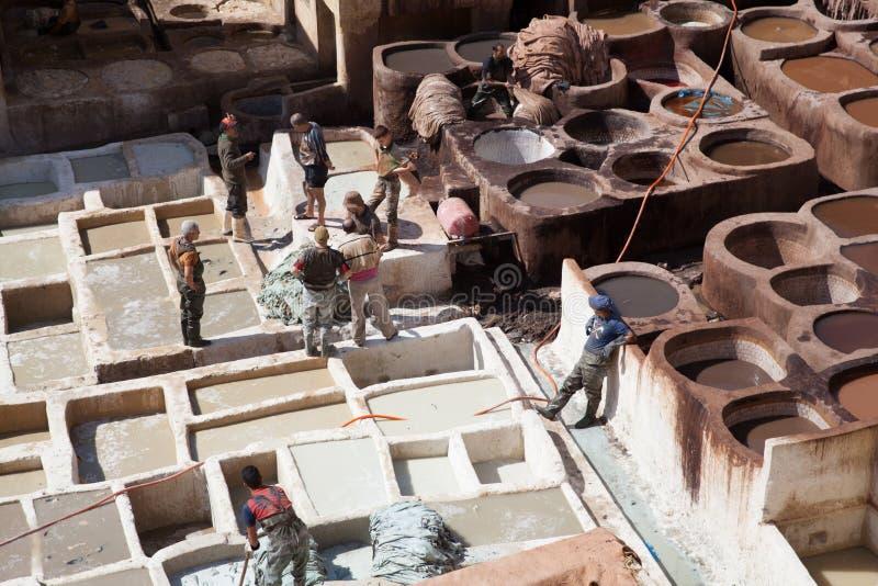 皮革皮革厂,菲斯,摩洛哥,2017年 库存照片