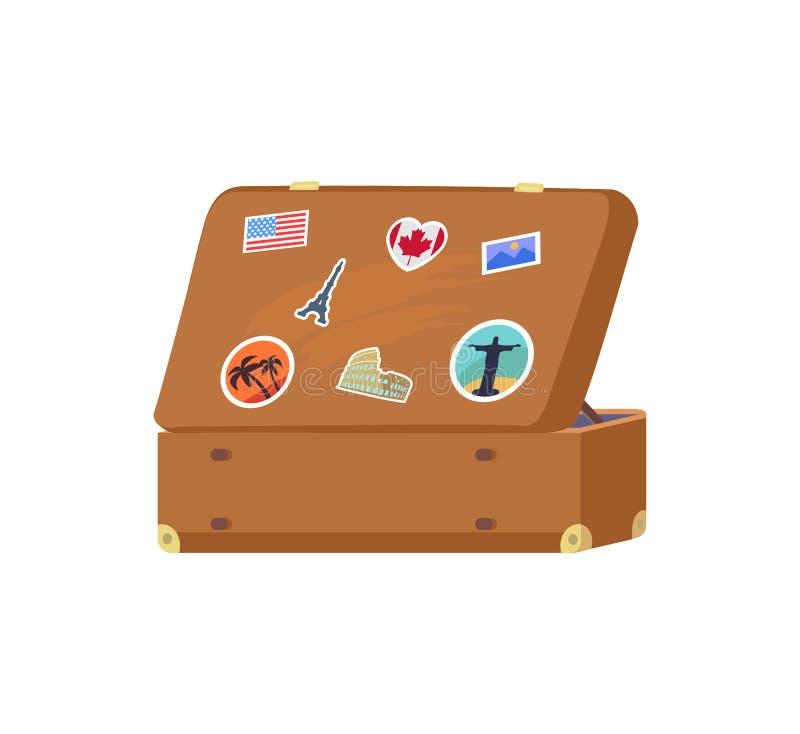 皮革葡萄酒手提箱有装饰记忆 库存例证