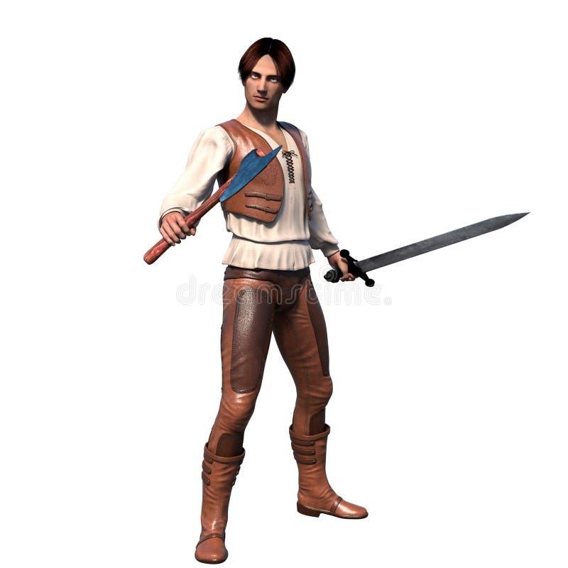 皮革装甲的一个年轻穿着体面的战士 免版税库存照片