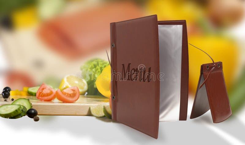 皮革素食菜单在餐馆 免版税库存照片