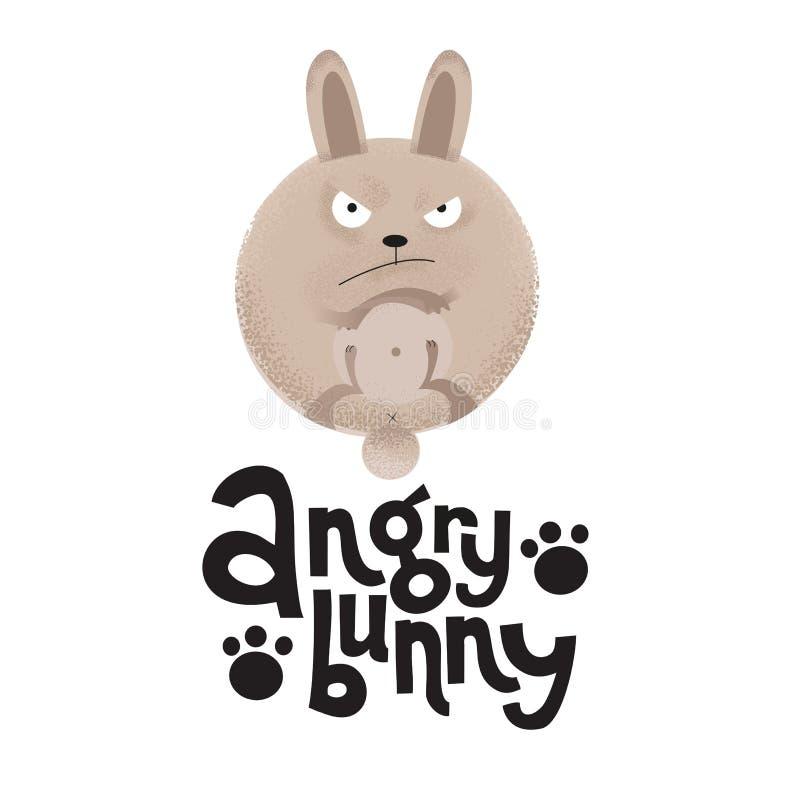 皱眉的兔子是爪子与在行情恼怒的兔宝宝上写字 在动画片样式的现代平的织地不很细例证在白色 皇族释放例证