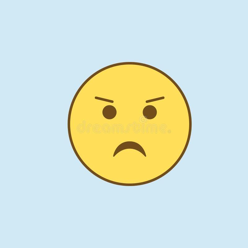 皱眉的2种族分界线象 简单的黄色和棕色元素例证 从emoji集合的皱眉的概念概述标志设计 向量例证