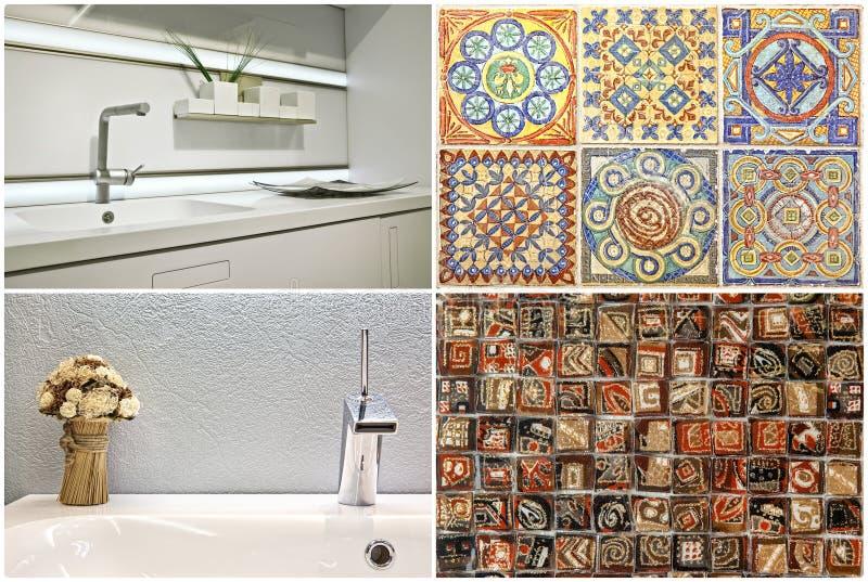 水盆现代样式在卫生间和厨房,葡萄牙瓦片里 免版税库存图片
