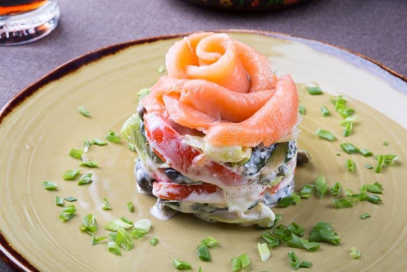 盐味的三文鱼沙拉 免版税库存图片