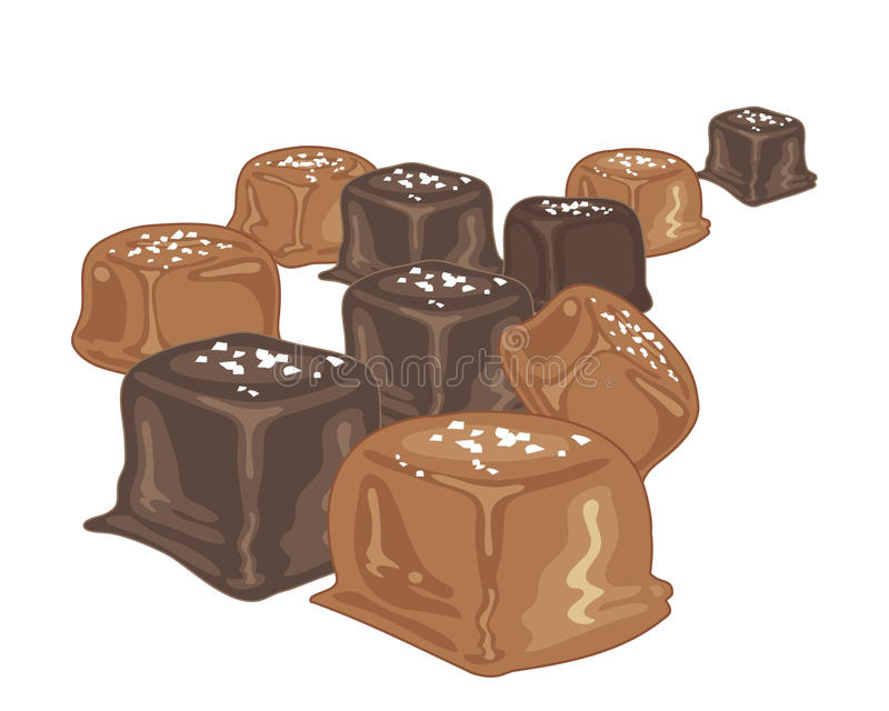 盐味的焦糖糖果 向量例证