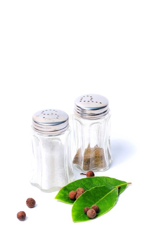 盐和胡椒在盐瓶 免版税库存照片