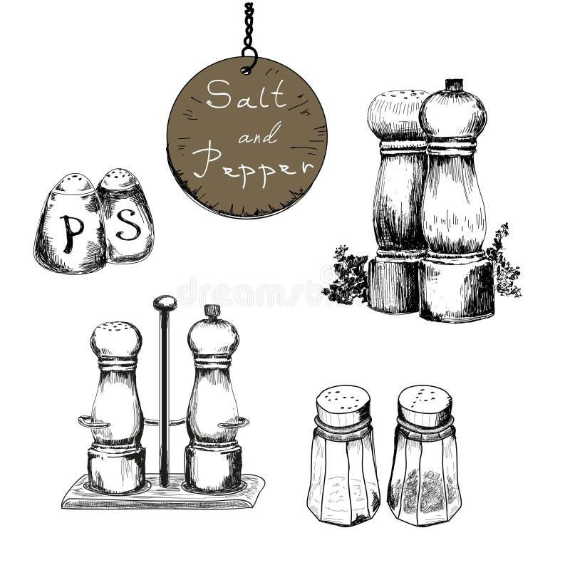 盐和胡椒 库存例证