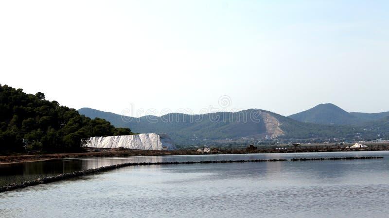 盐在伊维萨岛,巴利阿里群岛,西班牙被生产的盐水湖 免版税库存照片