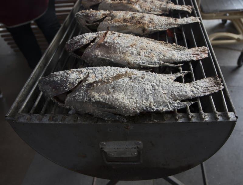 盐在火炉的用硬皮覆盖的烤鱼 库存图片