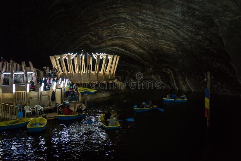 盐沼图尔达盐矿在罗马尼亚 免版税库存照片