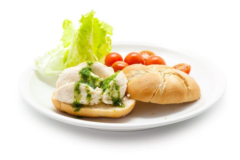 盐渍鳕鱼brandade用在面包的荷兰芹调味汁 免版税图库摄影