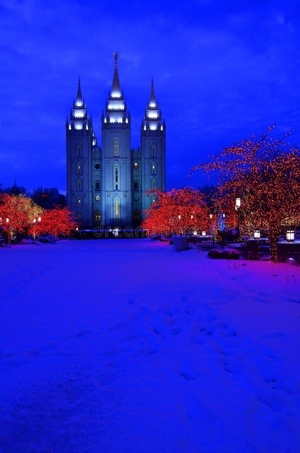 盐湖城寺庙正方形圣诞灯 图库摄影