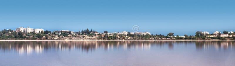 盐湖,在Larnaka附近的自然phenomen 库存照片
