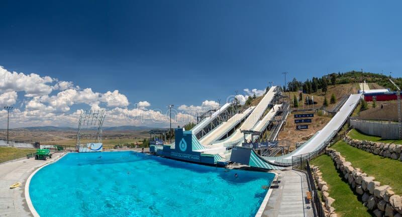 盐湖/帕克奥林匹克公园,犹他,美国:[跳高滑雪和长橇在奥林匹克公园博物馆 免版税图库摄影
