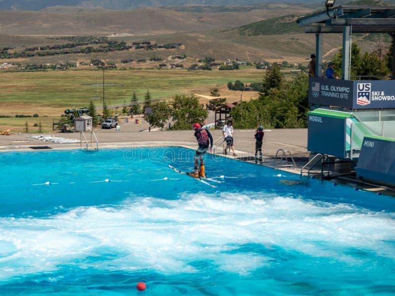 盐湖/帕克奥林匹克公园,犹他,美国:[跳高滑雪和长橇在奥林匹克公园博物馆 免版税库存图片