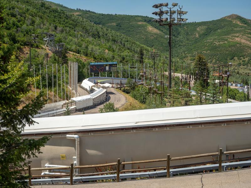 盐湖/帕克奥林匹克公园,犹他,美国:[跳高滑雪和长橇在奥林匹克公园博物馆 免版税库存照片