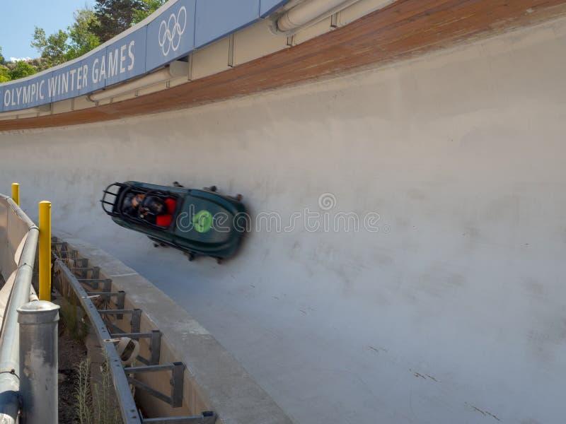 盐湖/帕克奥林匹克公园,犹他,美国:[跳高滑雪和长橇在奥林匹克公园博物馆 库存照片