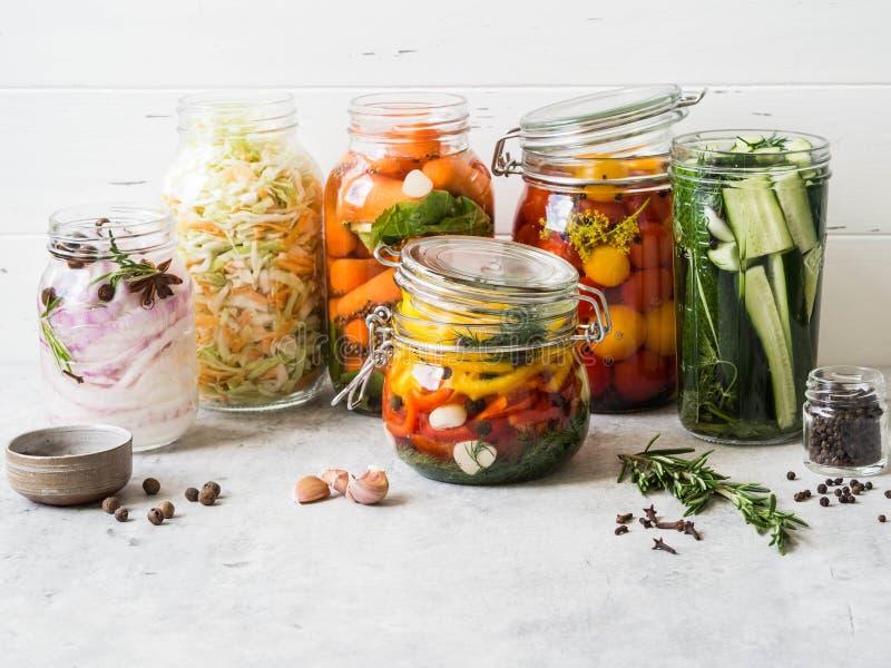 ?? 盐溶在玻璃瓶子的各种各样的菜长期储备的 在玻璃瓶子的蜜饯菜 ?? 免版税库存照片