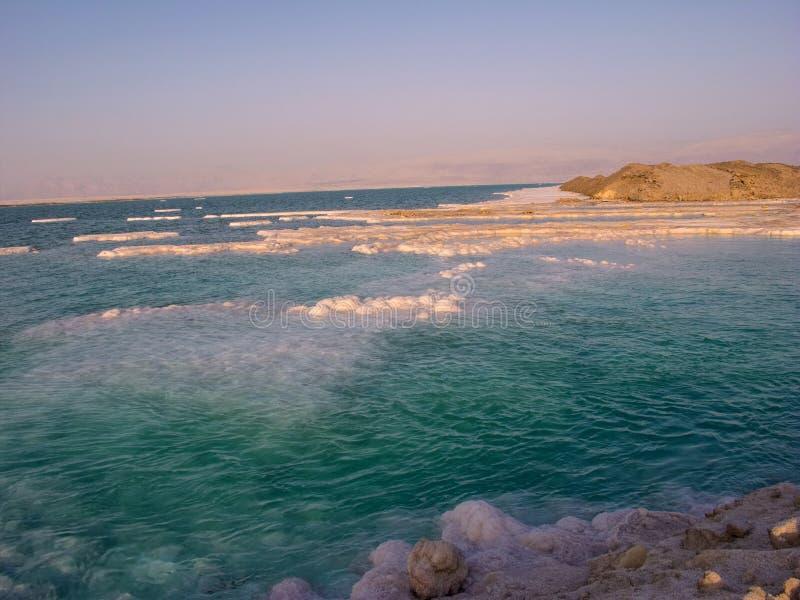 盐溶在死海,以色列的岸的领域 免版税库存照片