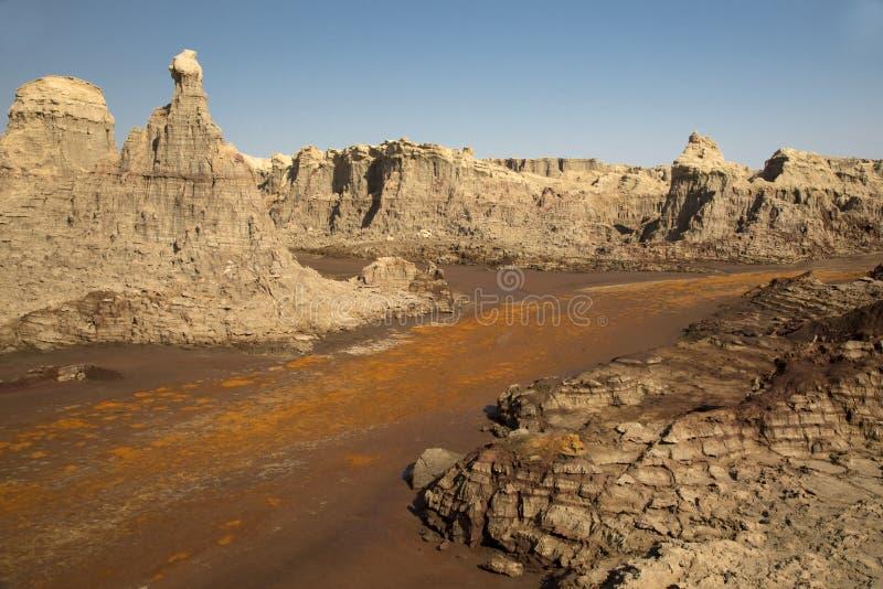 盐溶岩石和形成在Danakil消沉,埃塞俄比亚 免版税图库摄影