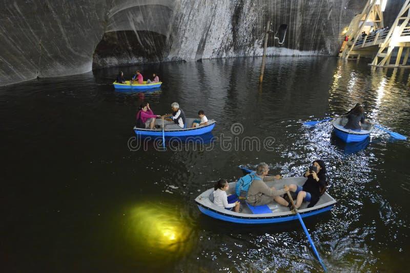 盐矿画廊盐沼图尔达在罗马尼亚 免版税库存照片