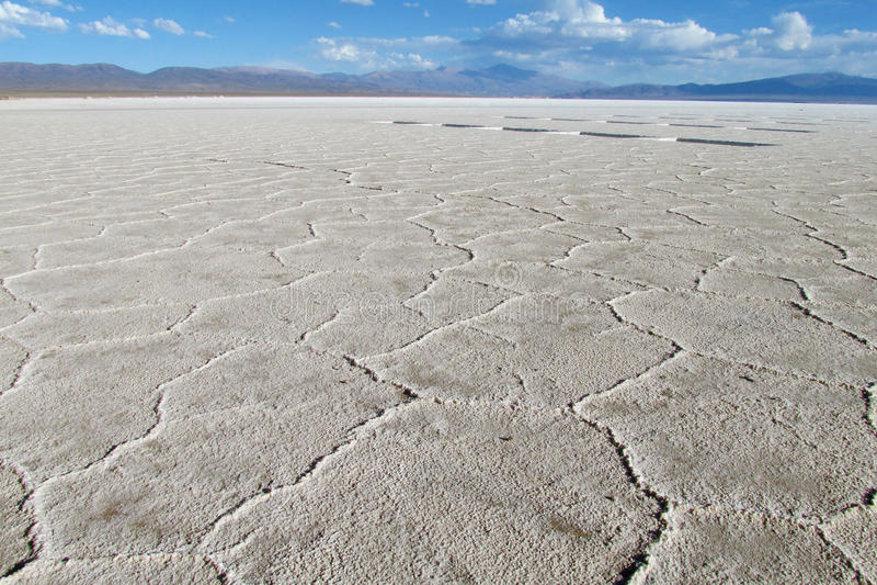 盐Gexagonal纹理在Uyuni撒拉族,玻利维亚表面  库存图片