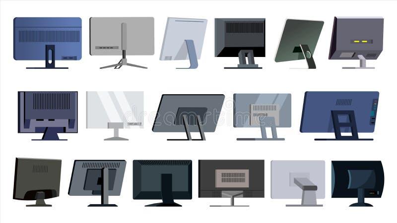 监测集合传染媒介 现代显示器,膝上型计算机 办公室,家,计算机显示器屏幕,数字显示 不同的类型 向量例证