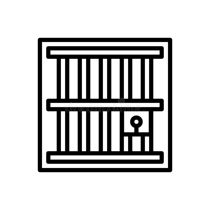 监狱、监禁和禁闭的黑线象 库存例证