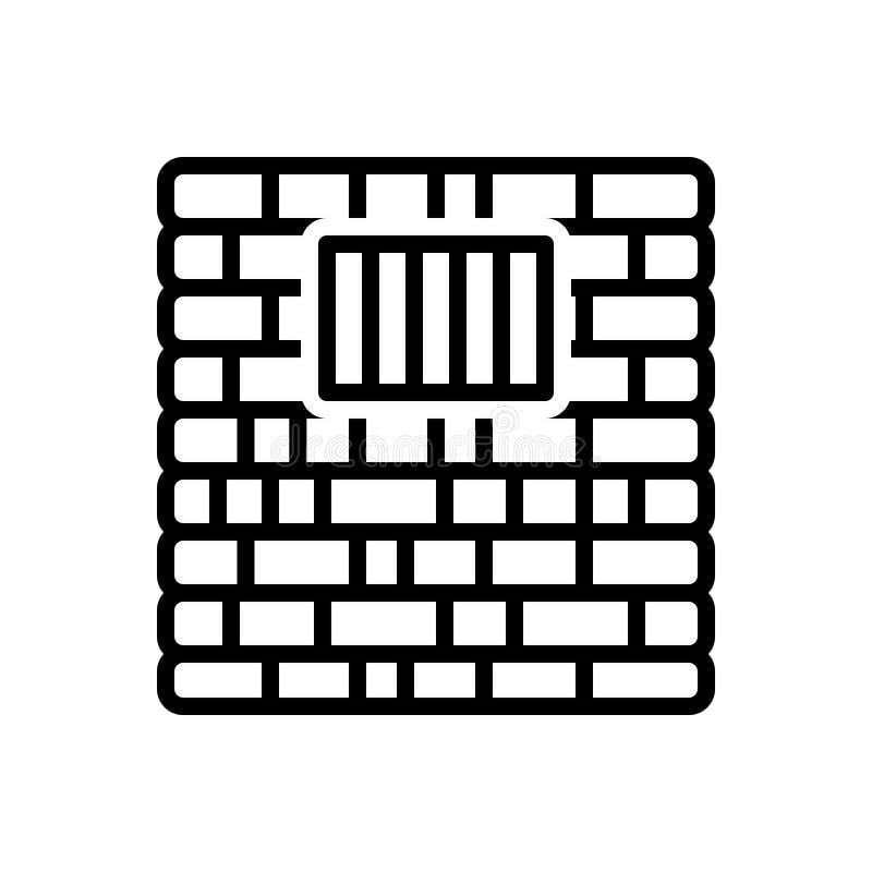 监狱、监禁和禁闭的黑线象 向量例证