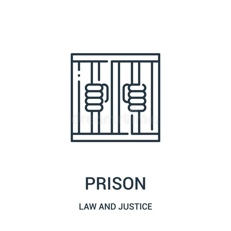 监狱从法律和正义汇集的象传染媒介 稀薄的线监狱概述象传染媒介例证 线性标志为使用 向量例证
