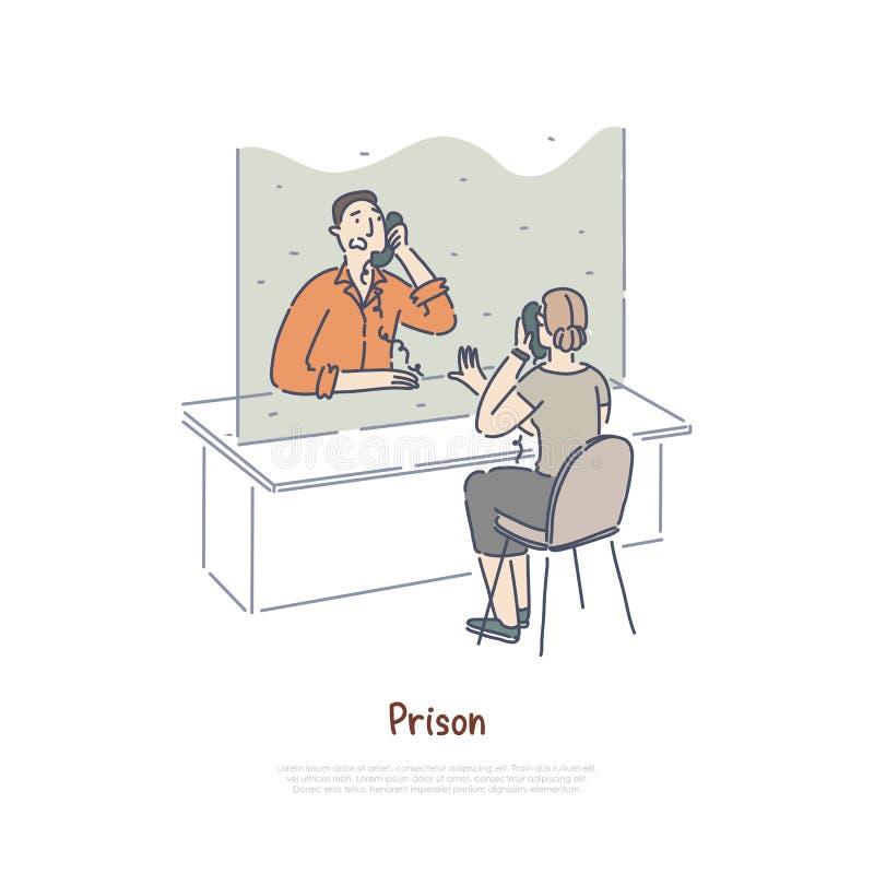 监狱参观的室,沟通与电话的囚犯的妇女,判了刑在窗口横幅后的人 皇族释放例证