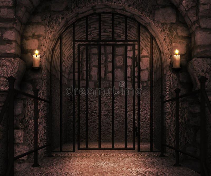 监狱城堡背景 免版税图库摄影