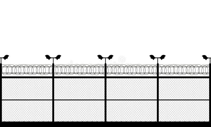 监狱塔,检查站,保护疆土,城楼,国家边界,军事基地 在柱子的街道照相机 篱芭导线 库存例证
