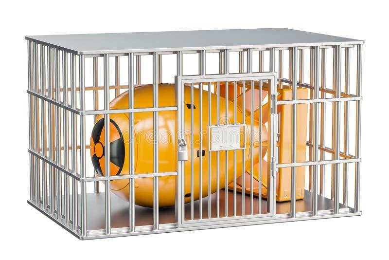 监狱牢房用核弹 核武器禁止conce 向量例证